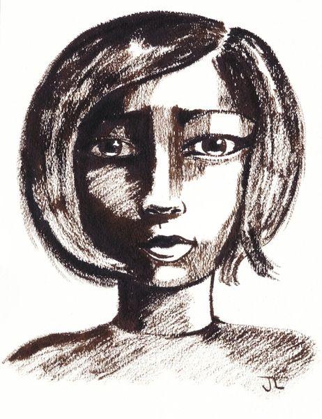 "Sepia Woman 9x12"" Original Sepia Ink"