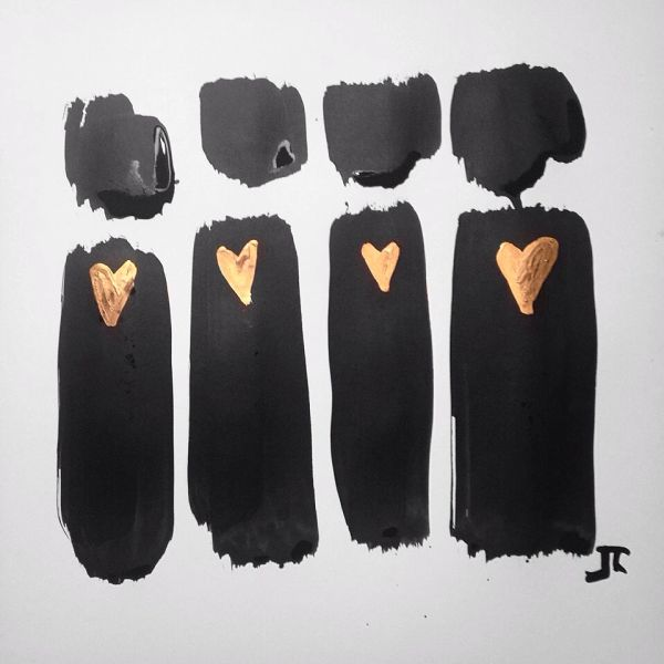 "SOLD Gold heart figures 12x12"" original India ink and watercolor"