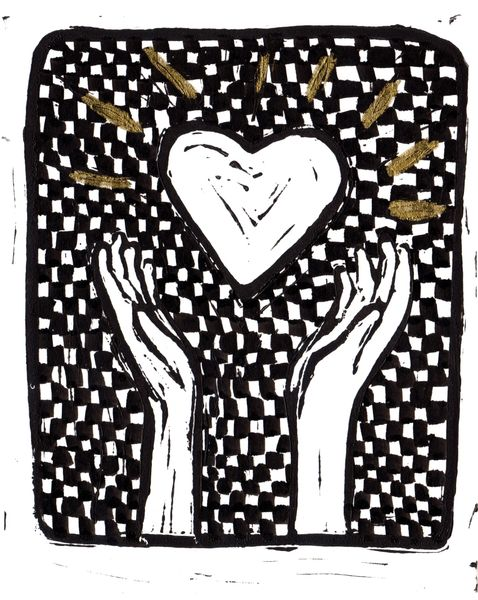 """SOLD 5 x 7"""" Original Linocut Heart and Hands Checker and Gold"""