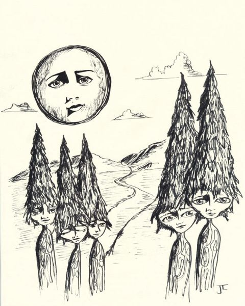 """8x5 x 11"""" Tree People Ink Drawing on Cream Paper"""
