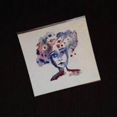 SOLD Celestial face original mini watercolor