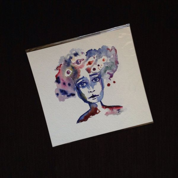 SOLD Celestial face original mini watercolor