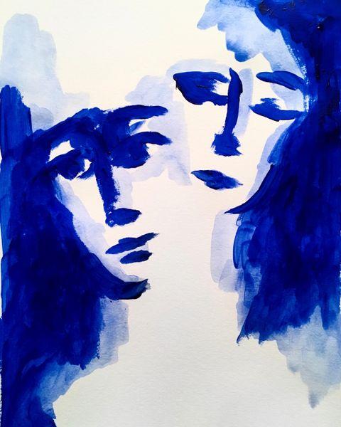 "Blue Two 9x12"" acrylic original"