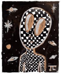 """Alien Linocut and Watercolor Checkers 5 x 7"""""""