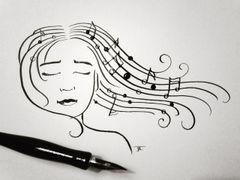 "Musical Notes Woman Original Ink 6x9"""