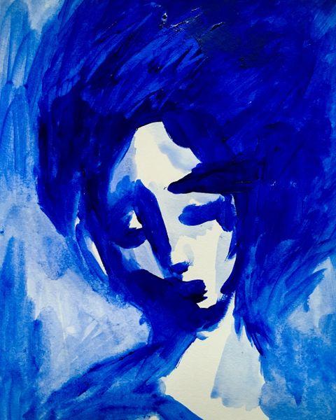"SOLD Blue Lady 9x12"" acrylic original"