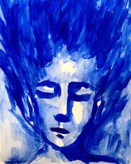 "Blue portrait 9x12"" acrylic"