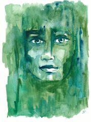 "Elemental Emerald 9x12"" Original Watercolor"