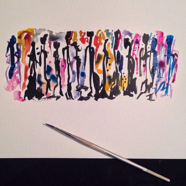 "Abstract people original 9x12"" watercolor"