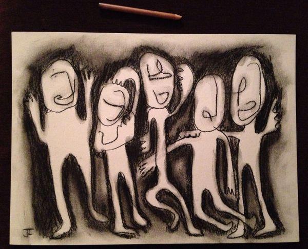 "11 x 15"" Original Charcoal/Graphite Figures"