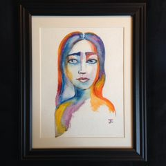"SOLD Colorful Lady 9x12"" Original Watercolor"