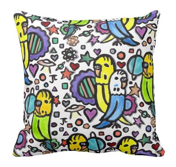 Space Budgies Throw Pillow