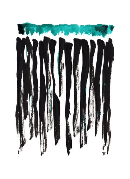"""SOLD 11x15"""" Teal Black Abstract India Ink"""