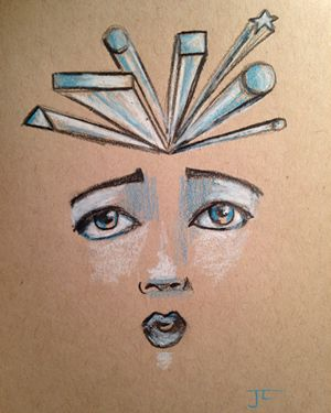 SOLD Geometric Face Original Pencil on Tan Toned Paper