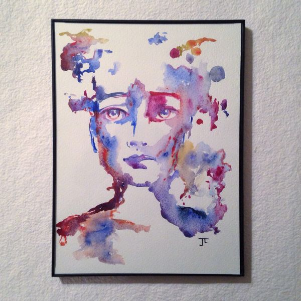 "SOLD 9x12"" Original Watercolor fragmented figure"