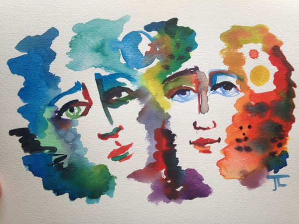 "Cosmic Twins 9x12"" Original Watercolor"
