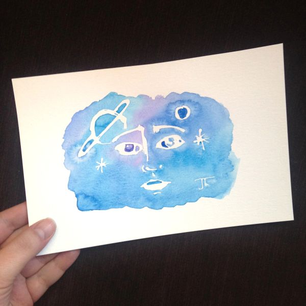 Cosmic Watercolor Face Mini 6x9""