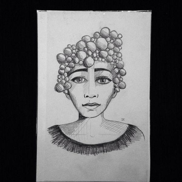 "Bubble woman 9x6"" graphite drawing"