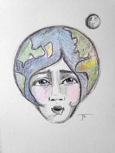 "Earth 6x9"" Paper Original Graphite Drawing"