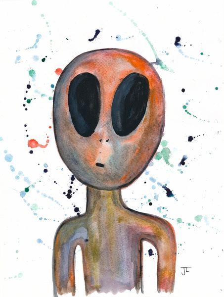 "Alien 9x12"" Watercolor"