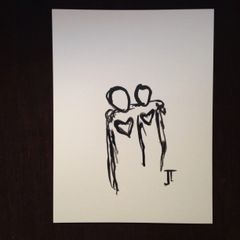 """Carry each other 9x12"""" original India ink"""