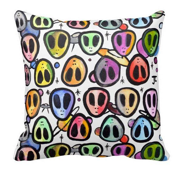 Alien Graffix Pattern Pillow