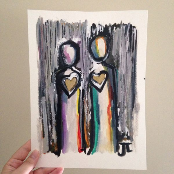 "SOLD Two heart people 9x12"" original"