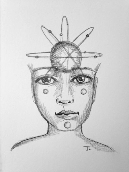 "Atomic Face of the Universe 6x9"" Paper Original Graphite Drawing"