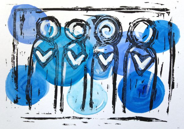 "4.5 x 6"" Original Heart People Linocut Blue"