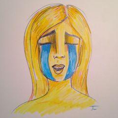 """Emoji Girl Cry - Color Pencil 9x12"""" original"""