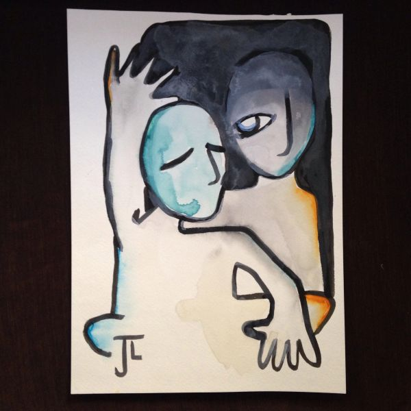 "Two figures 11x15"" watercolor"