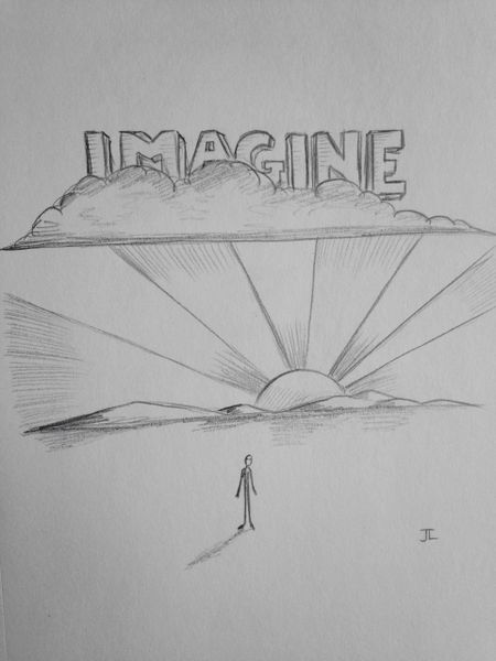 "Imagine 9x6"" graphite drawing"