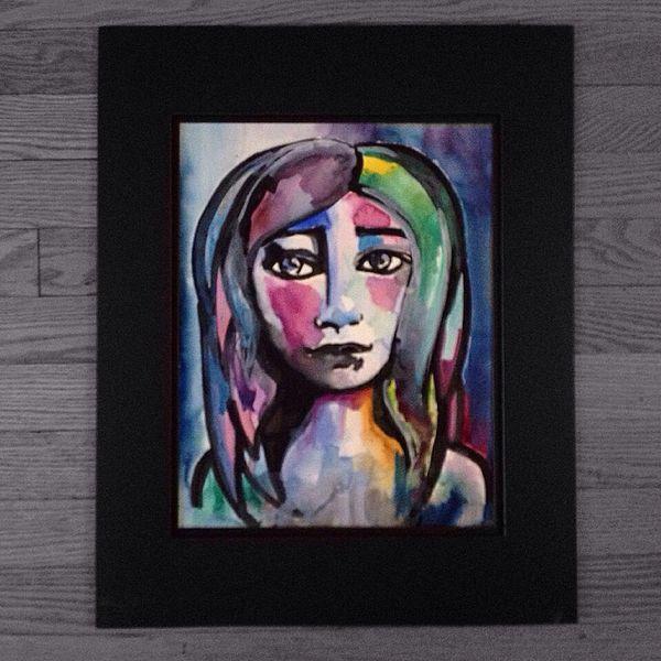 """SOLD Colorful girl 11x15"""" paper original watercolor"""