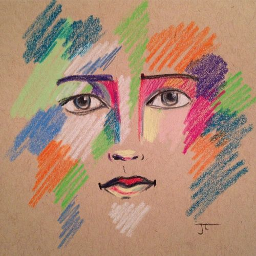 SOLD Colorful face on Tan Toned Paper