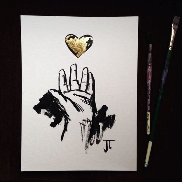 "SOLD Gold Heart 9x12"" original painting"
