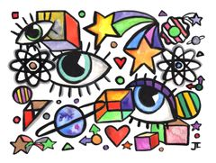 """Eyes and Planets Original Watercolor and India Ink 9x12"""""""