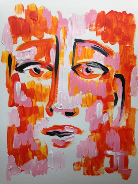 "11x15"" Pink and Orange Face Acrylic Painting"