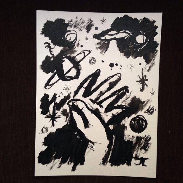 "Cosmic hand 9x12"" original India ink"