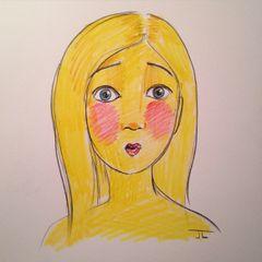 """Emoji Girl Surprise - Color Pencil 9x12"""" original"""