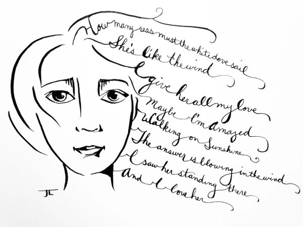 """She is - Lyrical Ink Drawing 6x9"""""""