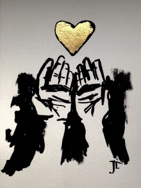 """SOLD 9x12"""" gold leaf hands and heart"""