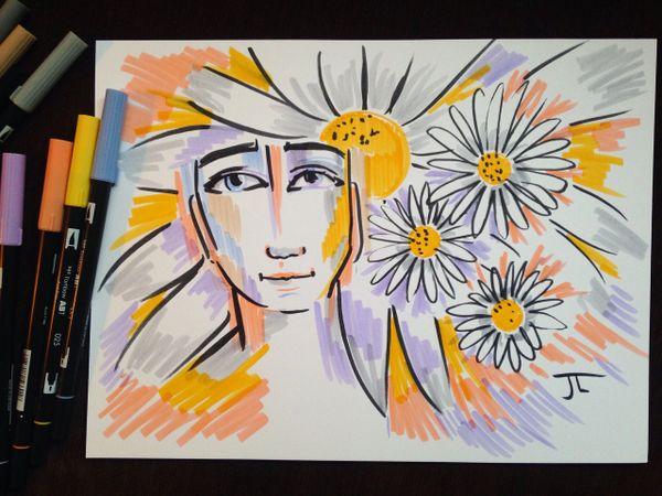 "9x12"" Springtime Energy Original Ink on Bristol"