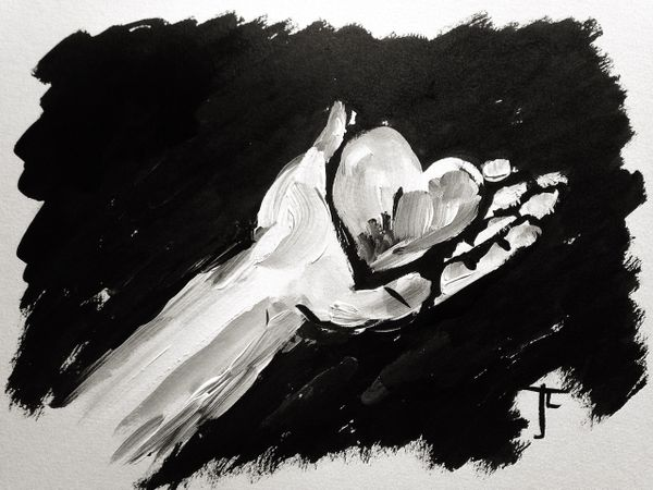 """9 x 12"""" Original Hand with Heart - India Ink and Acrylic"""
