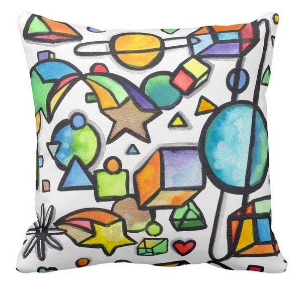 Cosmic Geometric Graffix Pillow