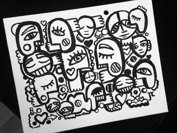 "8x10"" black and white Graffix acrylic on canvas"