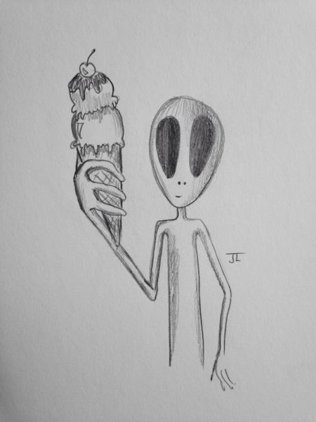 "Alien ice cream 9x6"" graphite drawing"