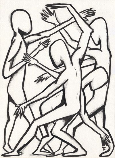 "SOLD 11x15"" Figures India Ink and Graphite"