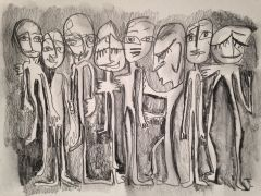 "11 x 15"" Original Graphite Abstract Figures"