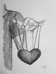 "Heart strings 9x6"" graphite drawing"