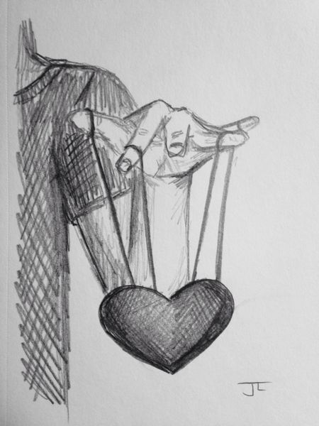 """Heart strings 9x6"""" graphite drawing"""